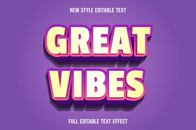 Editable text effect great vibes color yellow and purple
