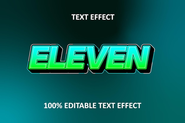 Редактируемый текстовый эффект зеленый синий