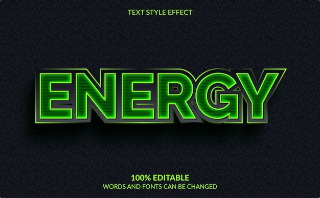 Editable text effect, green energy text style