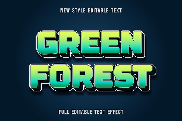 Editable text effect green forest color yellow green and dark blue