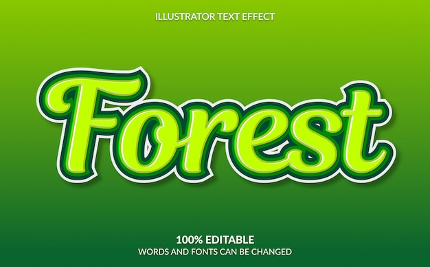 Editable text effect, green forest text style