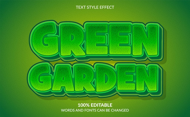 Editable text effect green garden text style