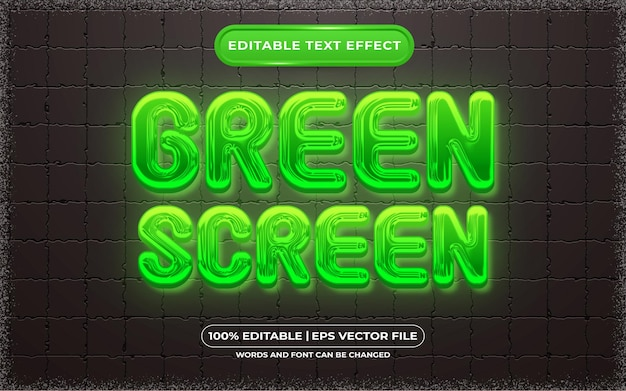 Редактируемый текстовый эффект зеленого экрана в стиле шаблона
