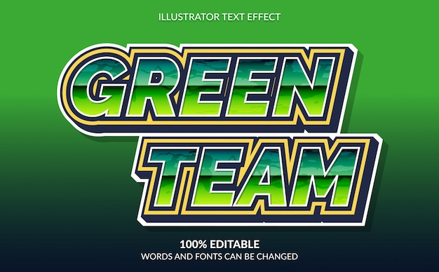 Editable text effect, green team text style for esport