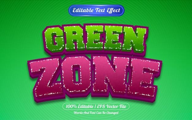 Редактируемый текстовый эффект зеленой зоны шаблона стиля