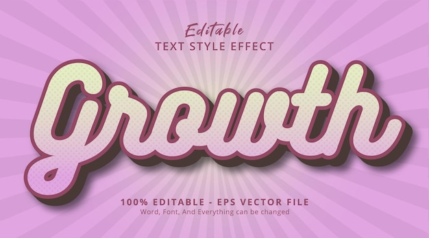Editable text effect, growth text on smooth pink color style