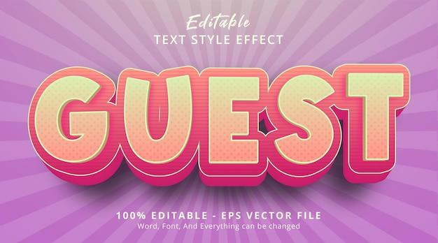 Editable text effect, guest text on pop art headline style effect