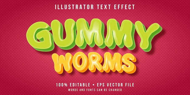 Editable text effect - gummy worms style