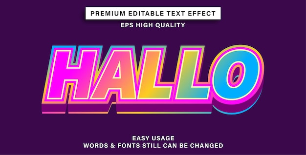 Editable text effect hallo