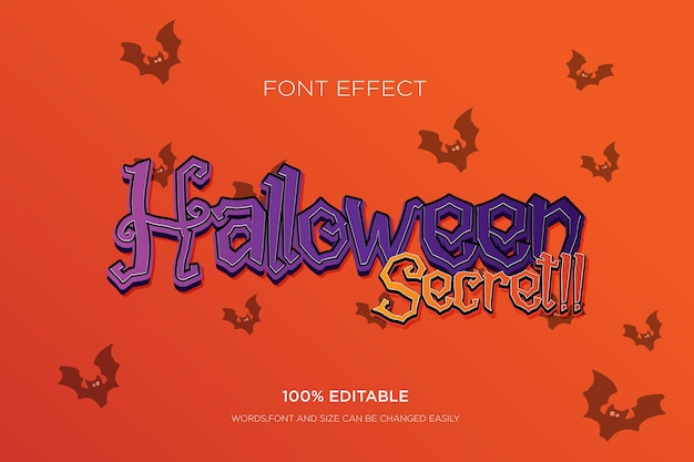Editable text effect halloween 3d text effect for tittle free vector