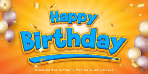 Editable text effect, happy birthday 3d style illustrations