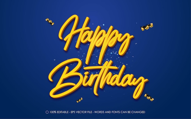 Editable text effect, happy birthday style