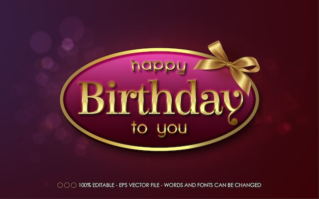 Editable text effect, happy birthday to you style illustrations