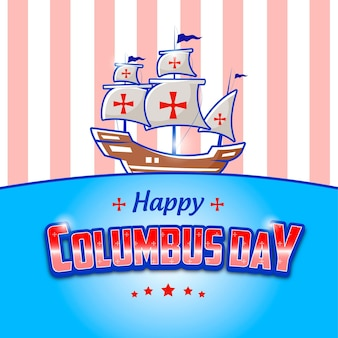 Editable text effect of happy columbus day