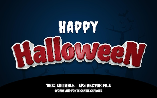 Editable text effect happy halloween style illustrations