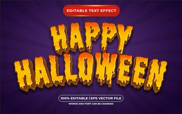 Editable text effect happy halloween template style