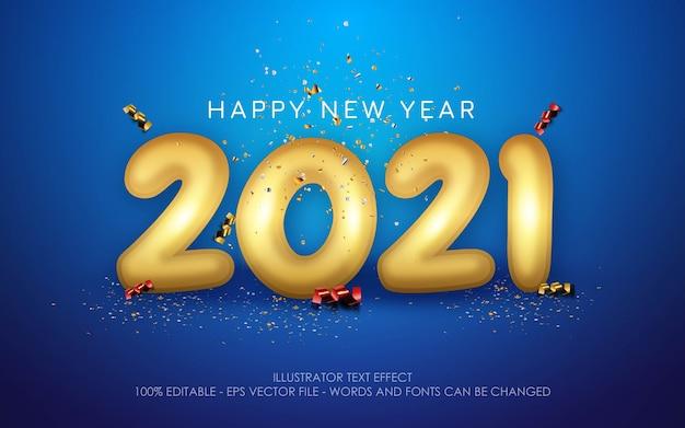 편집 가능한 텍스트 효과, 새해 복 많이 받으세요 2021 스타일 일러스트레이션