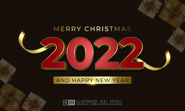 Editable text effect happy new year 2022 red golden text style concept