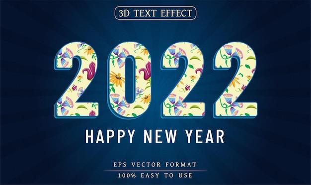 편집 가능한 텍스트 효과 새해 복 많이 받으세요 2022 텍스트 스타일