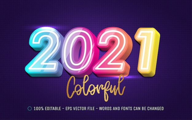 Editable text effect, happy new year  colorful style illustrations