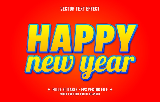 Editable text effect happy new year modern gradient style