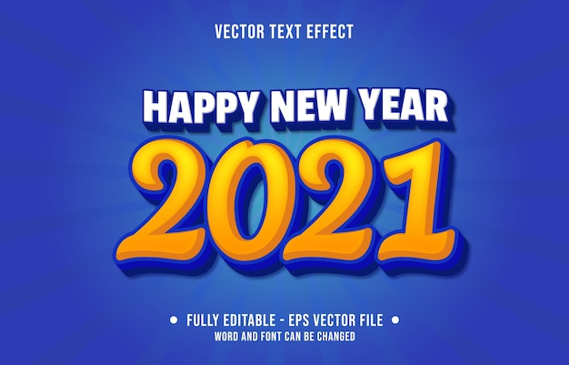 Editable text effect happy new year  modern style