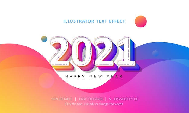Editable text effect  happy new year premium vector