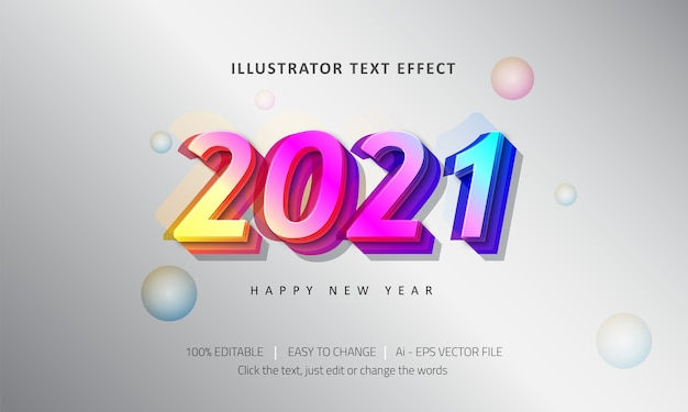 Editable text effect  happy new year  premium vector