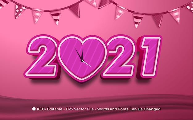 Editable text effect, happy new year style illustrations