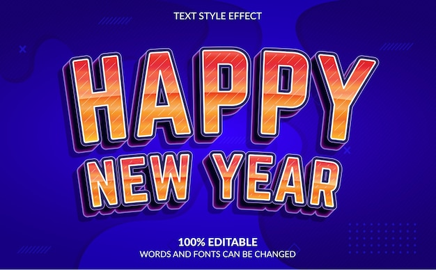 Editable text effect, happy new year text style