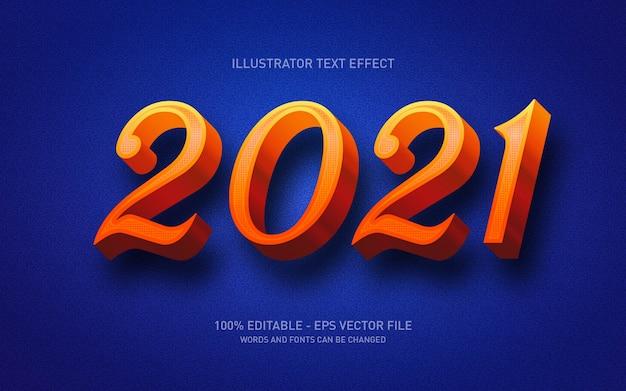 편집 가능한 텍스트 효과, happy new ywar 2021 스타일 일러스트레이션