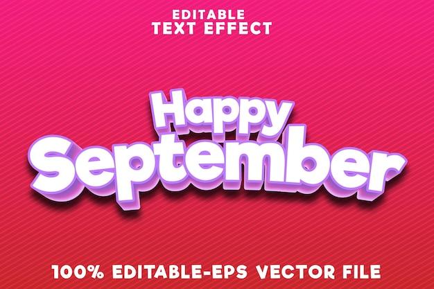 モダンなエンボススタイルで編集可能なテキスト効果ハッピー9月