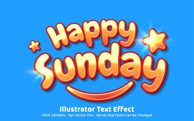 Editable text effect, happy sunday style