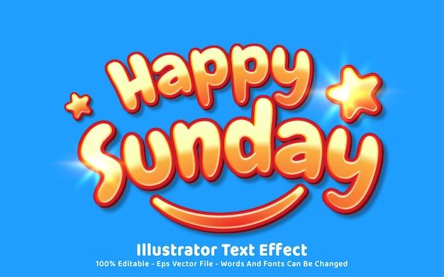 Editable text effect, happy sunday style Premium Vector