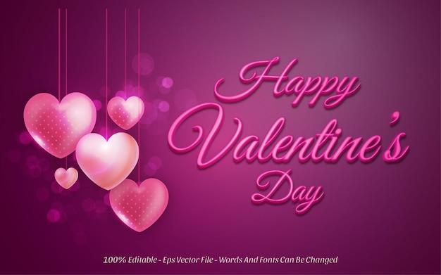 Editable text effect, happy valentine's day