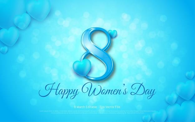 편집 가능한 텍스트 효과, 행복한 여성의 날 3 월 8 일 블루