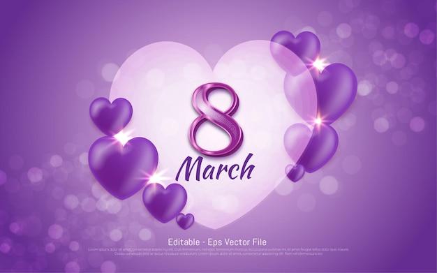 편집 가능한 텍스트 효과, 행복한 여성의 날 3 월 8 일 보라색