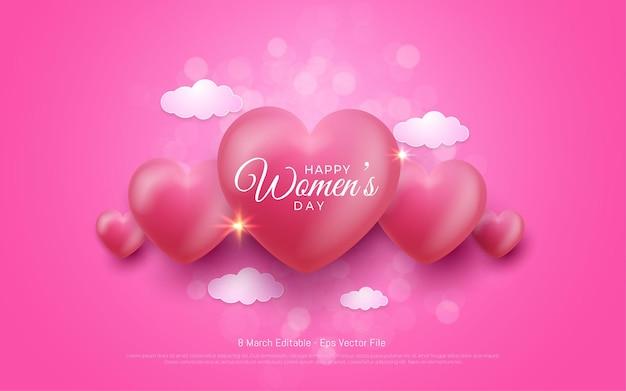 편집 가능한 텍스트 효과, 행복한 여성의 날 3 월 8 일