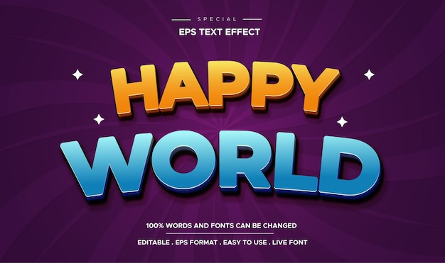 Editable text effect, happy world style