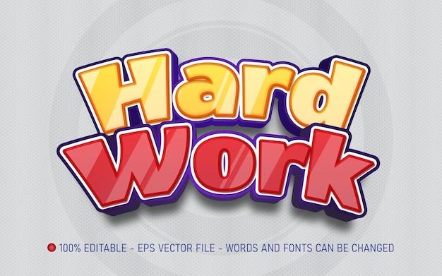 Editable text effect hard work style illustrations