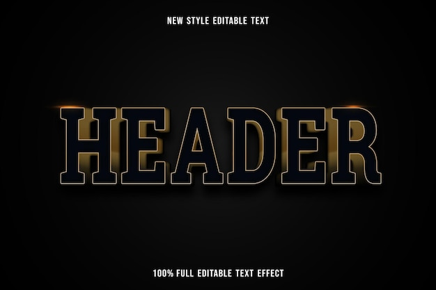 Editable text effect header in black and gold