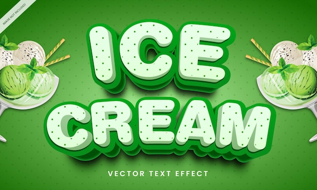 Editable text effect in healthy ice cream style