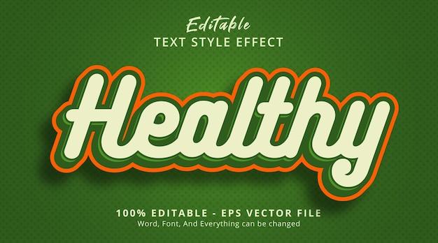 Редактируемый текстовый эффект, здоровый текст в стиле комбинации зеленого цвета