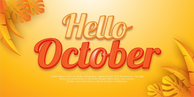 Editable text effect, hello october style illustrations