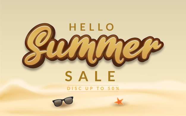 Editable text effect hello summer sale banner Premium Vector