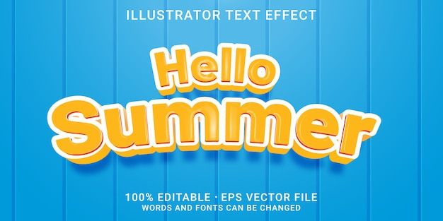 Редактируемый текстовый эффект - привет летний стиль