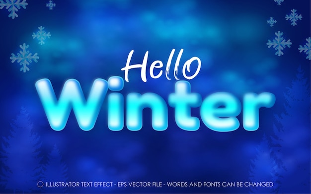 Editable text effect hello winter style illustrations