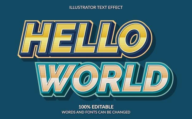 Редактируемый текстовый эффект, hello world, стиль ретро текста