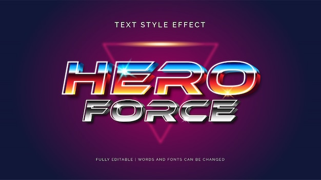 편집 가능한 텍스트 효과. 영웅 힘 3d 텍스트 스타일 효과.