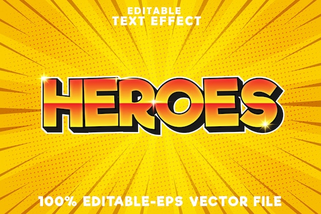Editable text effect heroes with new super comic style